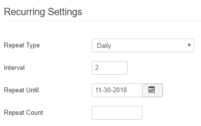 Daily Recurring Events Settings