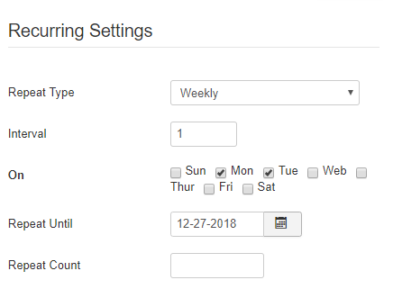 Weekly Recurring Events settings